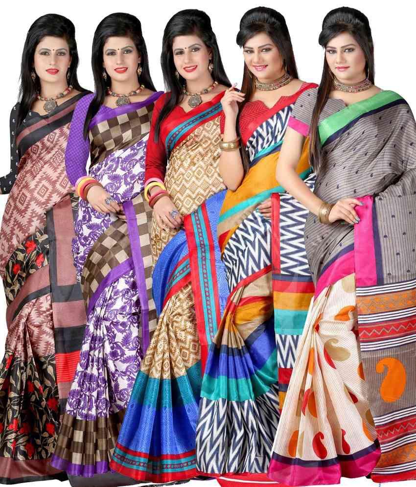 Yashika Multicolor Bhagalpuri Silk Pack Of 5