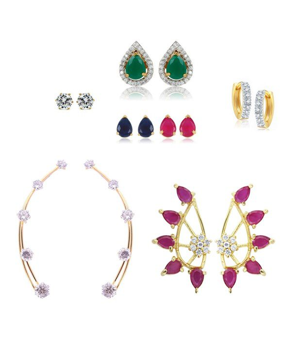 Archi Collection Multicolor Style Diva American Diamond Clip back Earrings - Set of 5