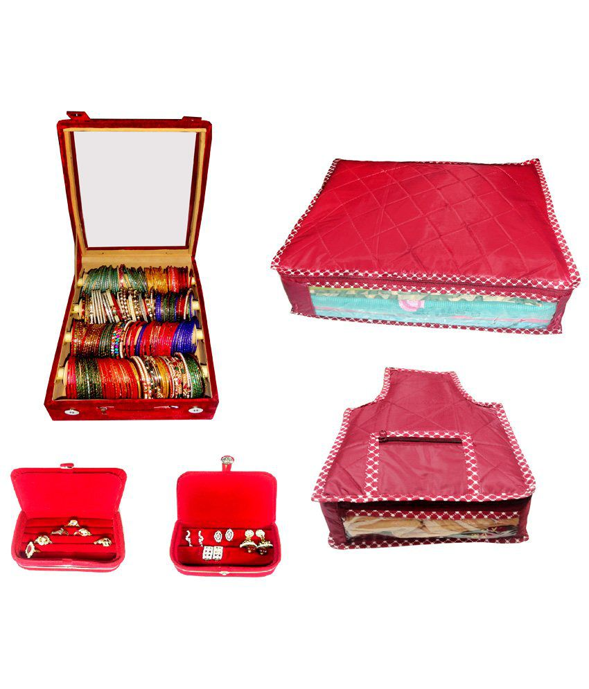 Atorakushon Roll Rod Bangles Box With Clear Plastic 1 Saree Cover 1 Blouse Cover 1 Earring Box 1 Ring Box - Combo Of 4