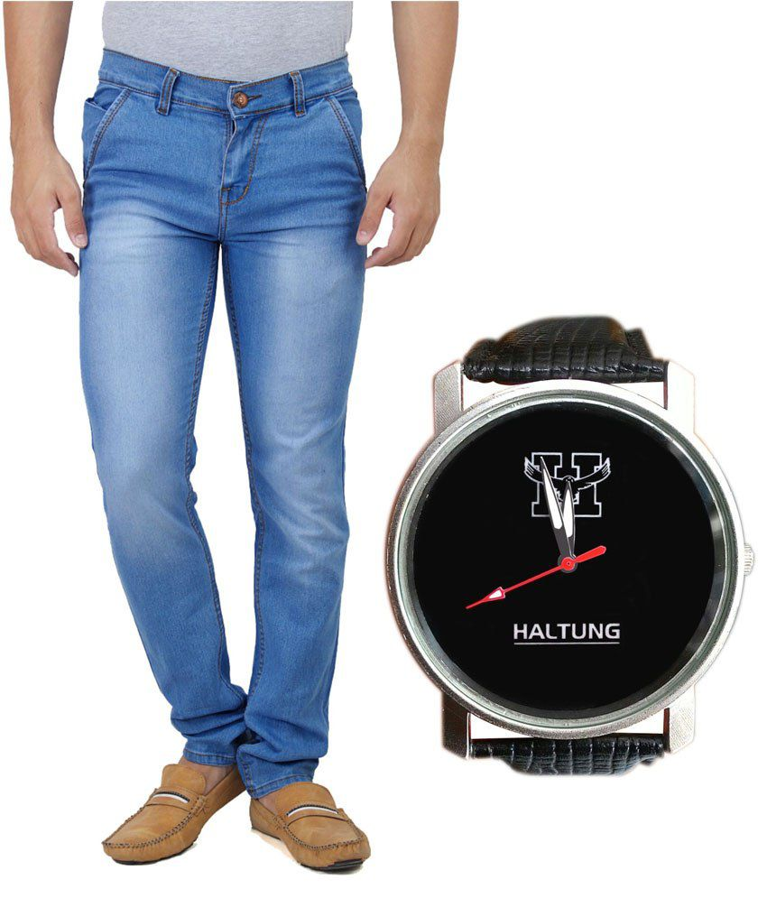 Haltung Dark Blue Faded Jeans with Free Watch