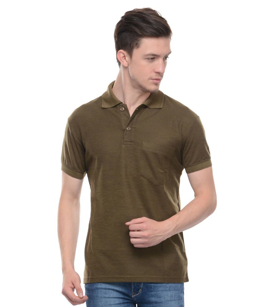 Tab91 Brown Cotton Blend Polo T-shirt