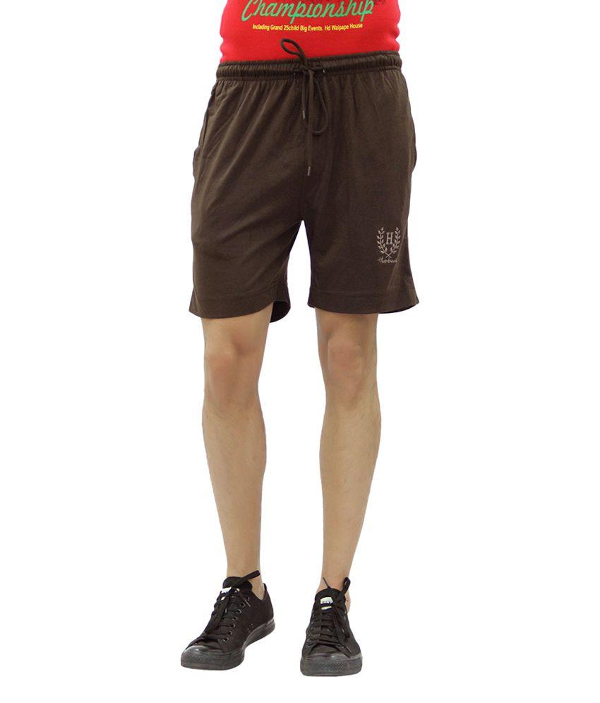 Humbert Brown Cotton Blend Single Folder Shorts