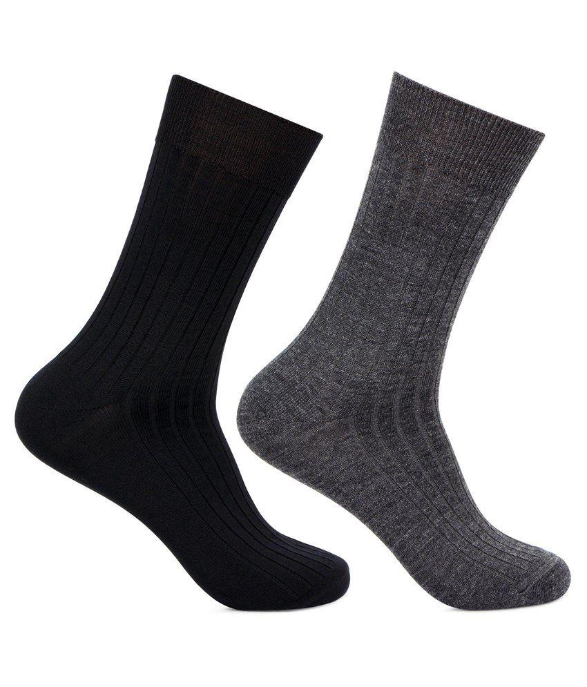 Bonjour Multicolour Woolen Full Length Socks - Pack of 2