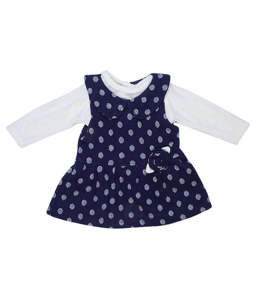 a0a8d792fcd9 Little Kangaroo Full Sleeves Navy Color Round Neck Dress For Kids ...