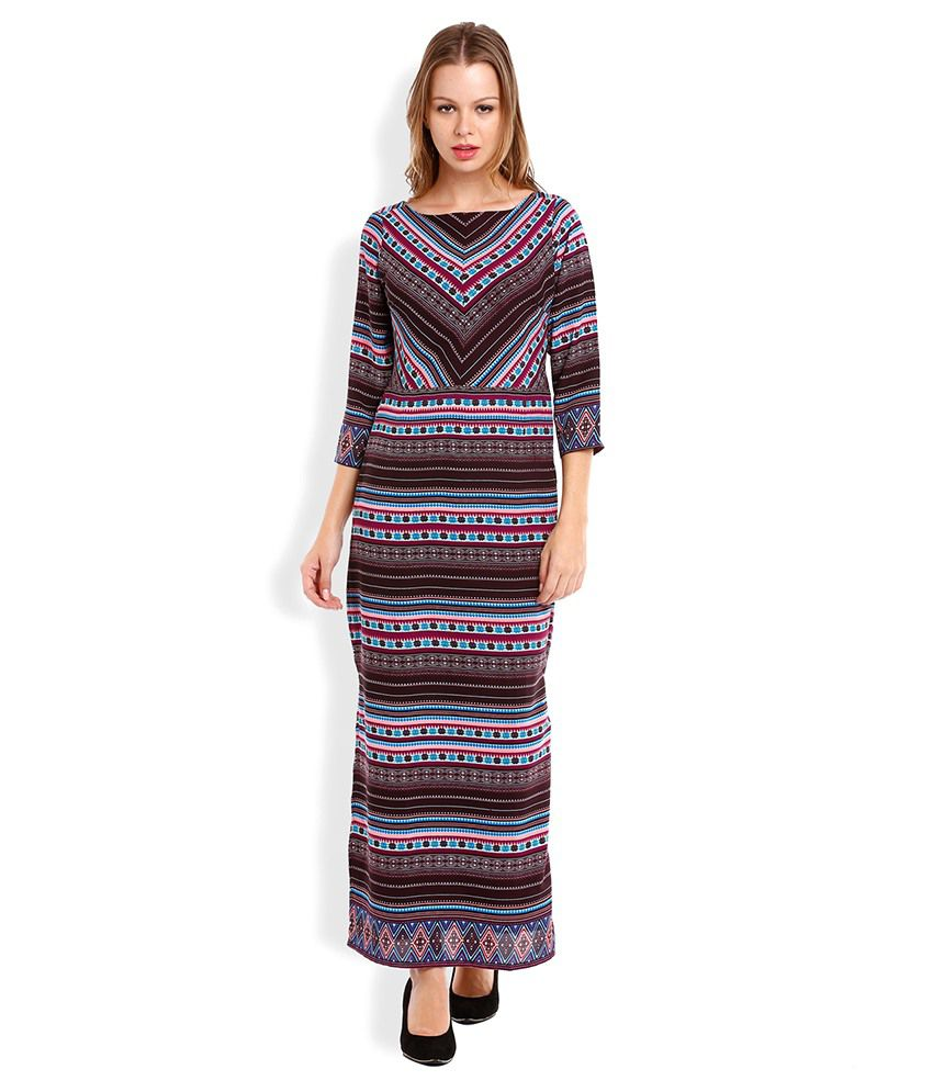 ab5c273807f Folklore Attractive Blue Maxi Dress With Multicoloured Long Shrug ...