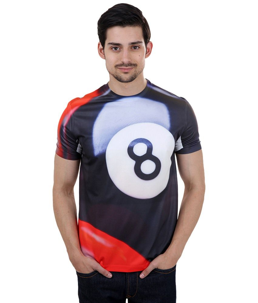 Freecultr Express Black & Red Eight Ball Printed T Shirt