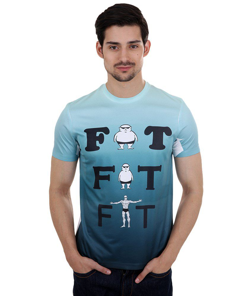Freecultr Express Blue & Black Fat to Fit Printed T Shirt