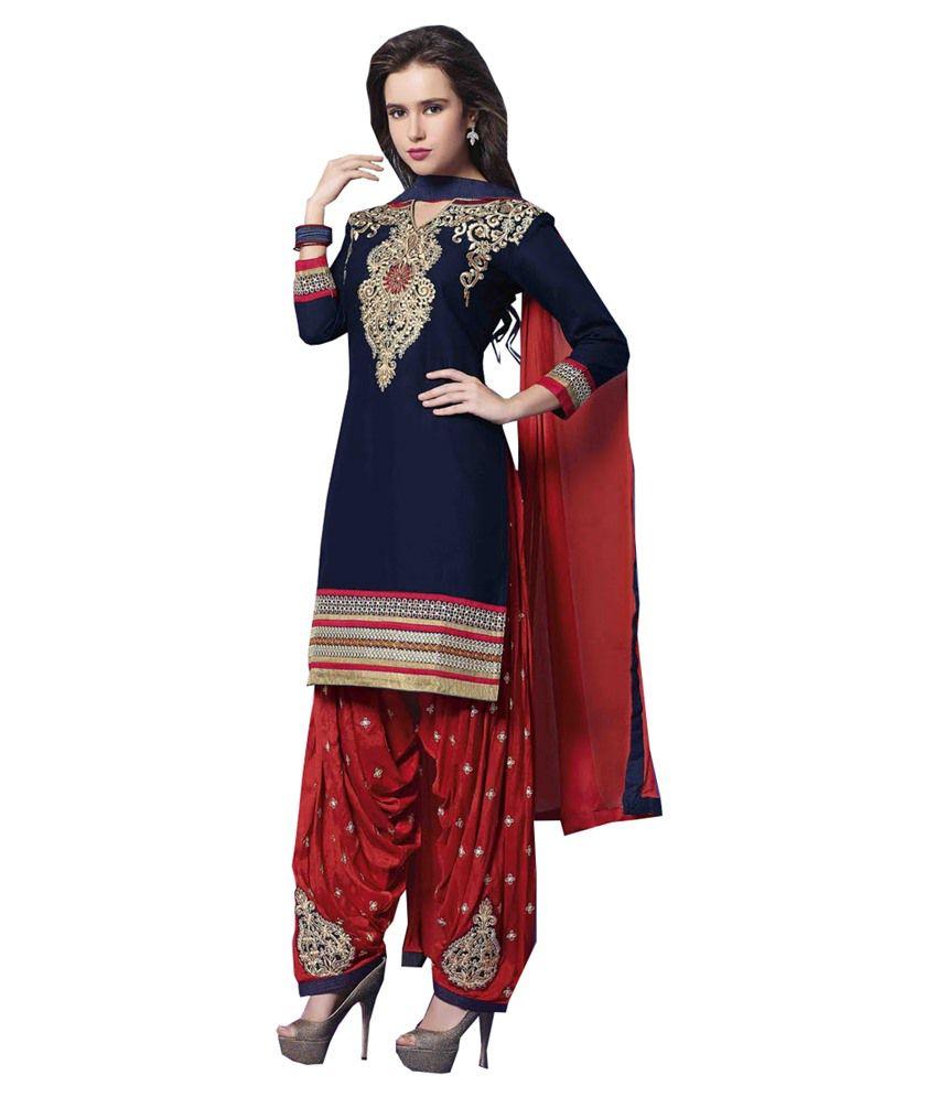 Jagadamba's Blue Cotton Unstitched Dress Material