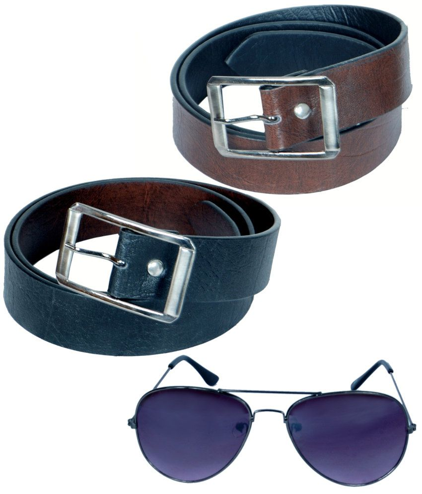 KVELL Be Proud Present's Present's Combo Of Soft Black , Soft Brown Belt & Assorted Sunglass