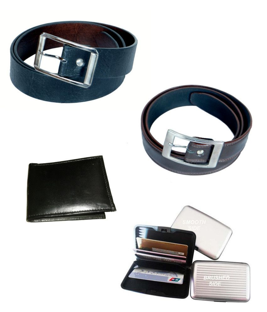 KVELL Be Proud Present's Present's Combo Of Soft Black , Shinning Brown Belt , Wallet & Assorted Card Wallet