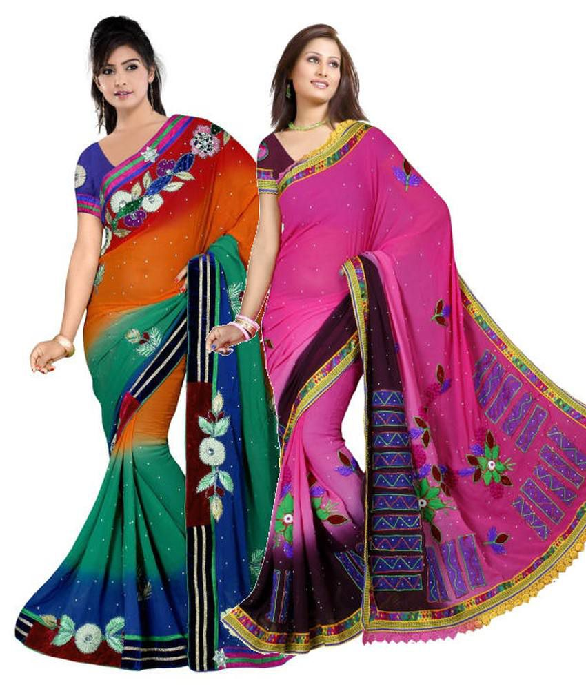 Reya Combo of Orange and Pink Embroidered Faux Georgette Sarees with Blouse Piece (Pack of 2)