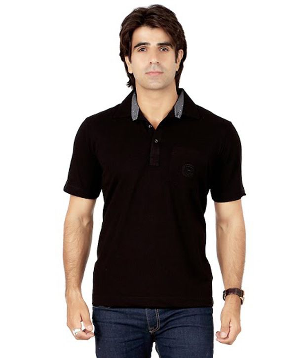 Valeta Black Half Sleeves Basic Wear Polo T-Shirt