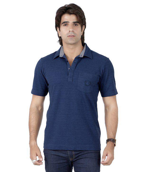 Valeta Blue Half Sleeves Basic Wear Polo T-Shirt