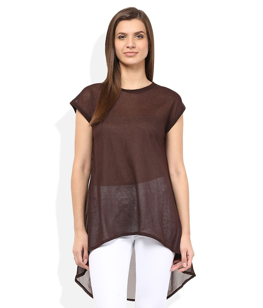 AND Brown Solid Tunic