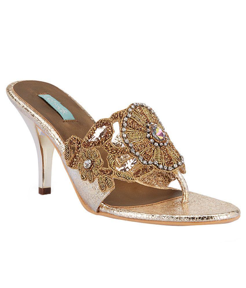 Catwalk Golden Heeled Slip-ons