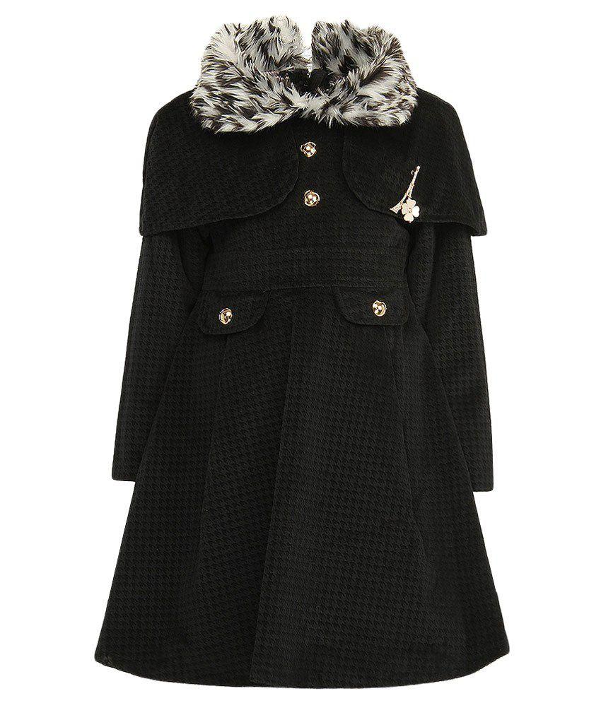 Little Kangaroo Full Sleeves Black Color Collor Neck Jacket For Kids