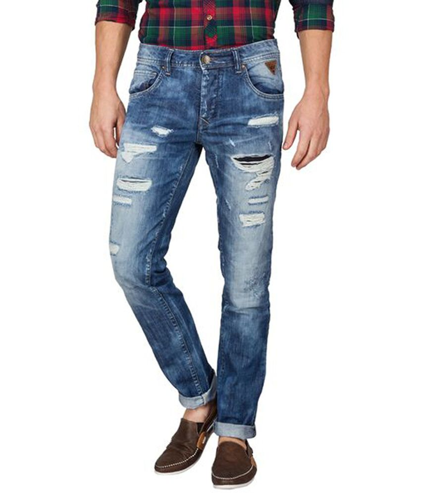 Slub Blue Cotton Slim Fit Jeans