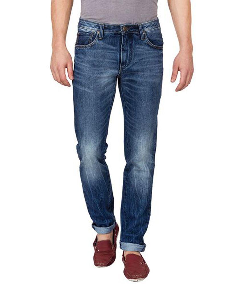 Slub Navy Blue Cotton Slim Fit Jeans