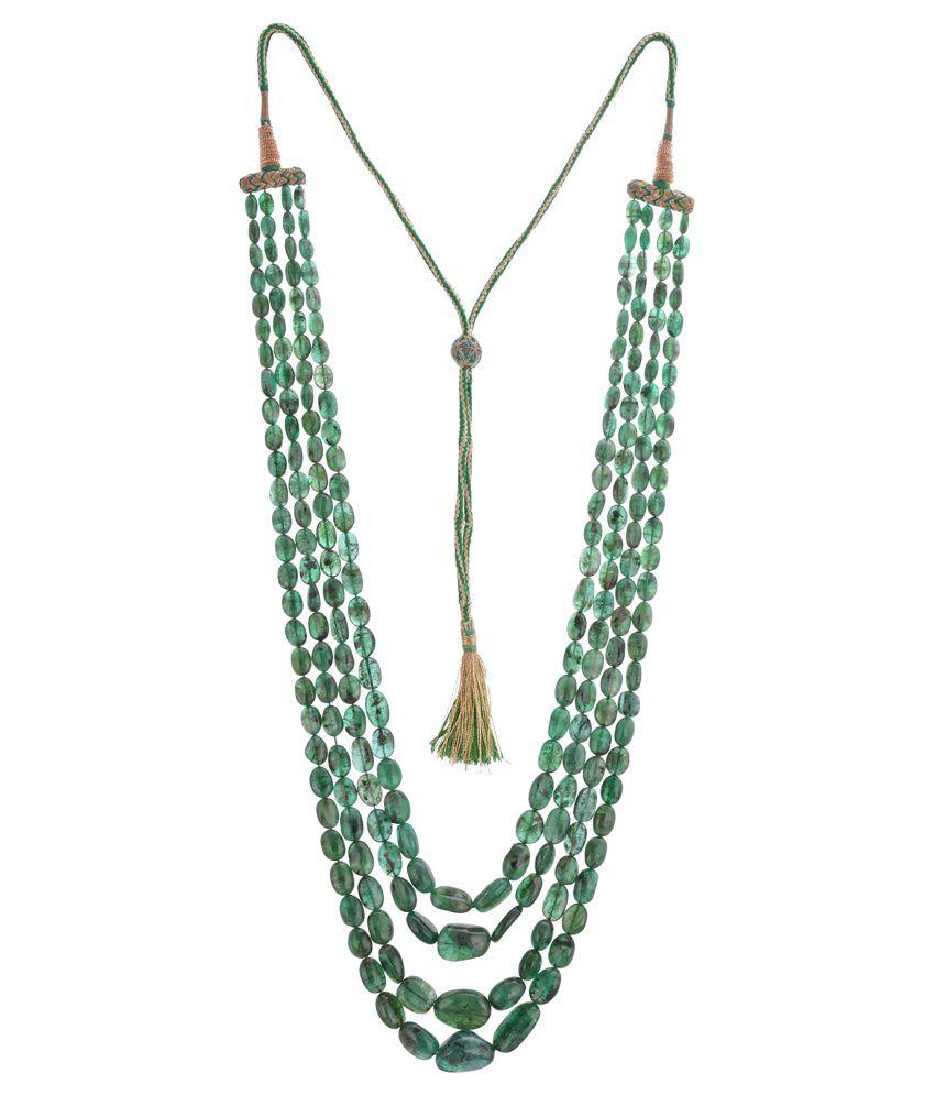 Gem World Green Emerald Traditional Necklace