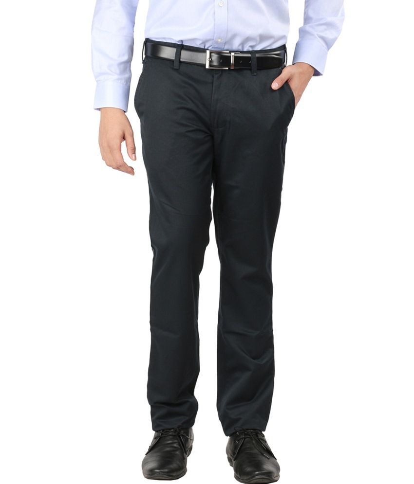 Oxemberg Blue Slim Fit Formal Chinos