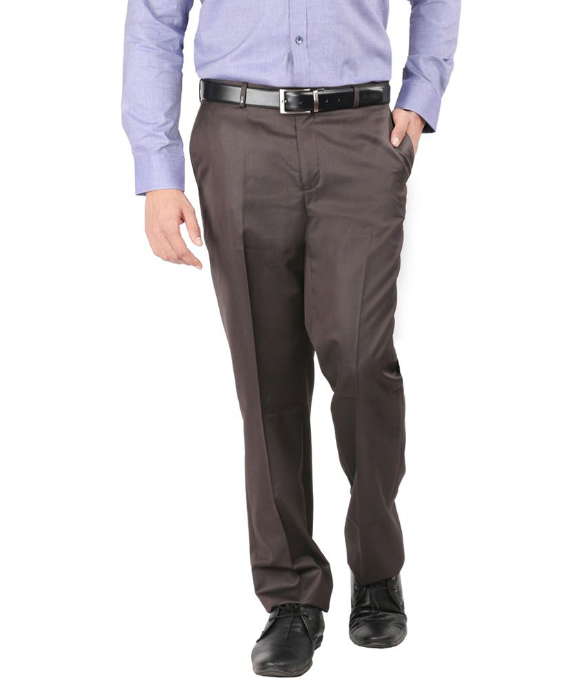 Oxemberg Brown Regular -Fit Flat Trousers