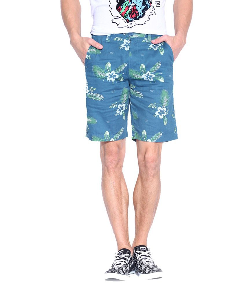 Blue Wave Blue Cotton Shorts