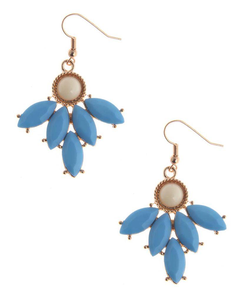 NIROSHA Blue Style Diva Gemstone Simulant Contemporary Earrings for Women