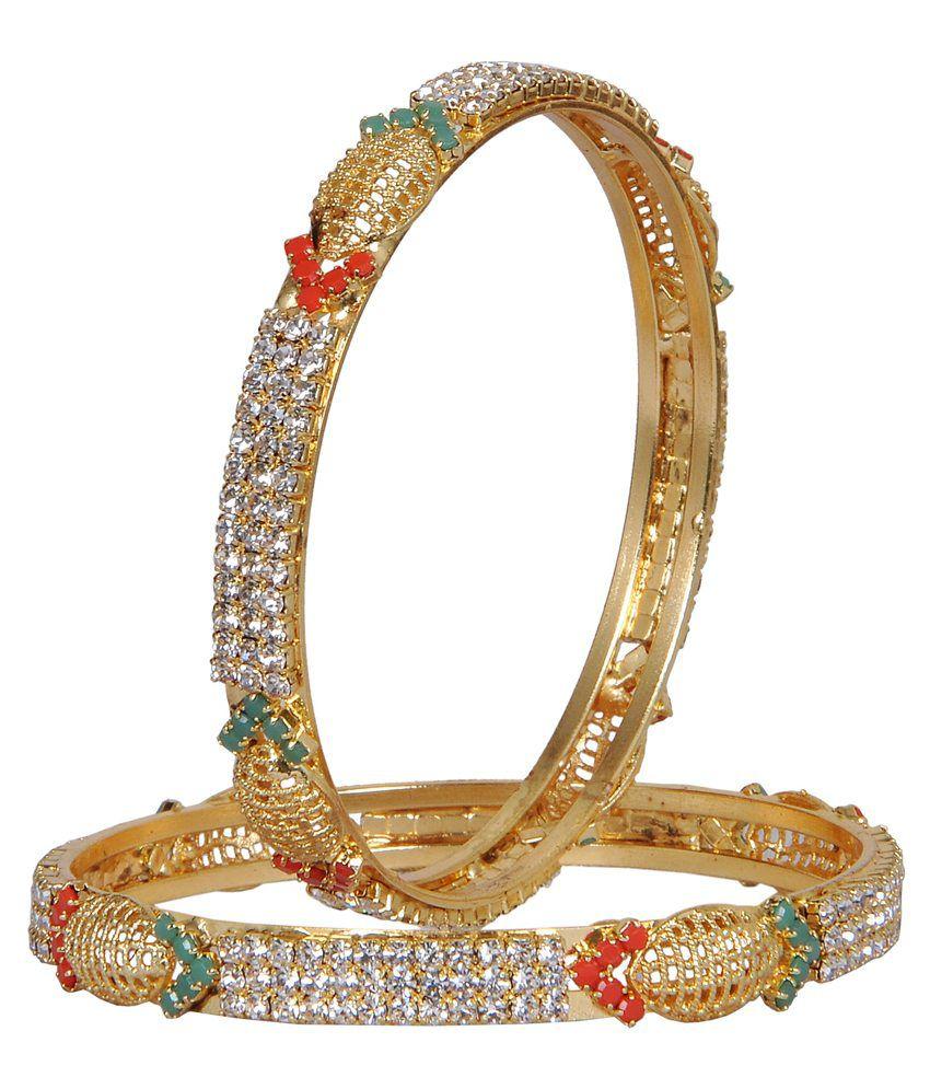 Rp Gold Plated Copper American Diamond Bangle Set
