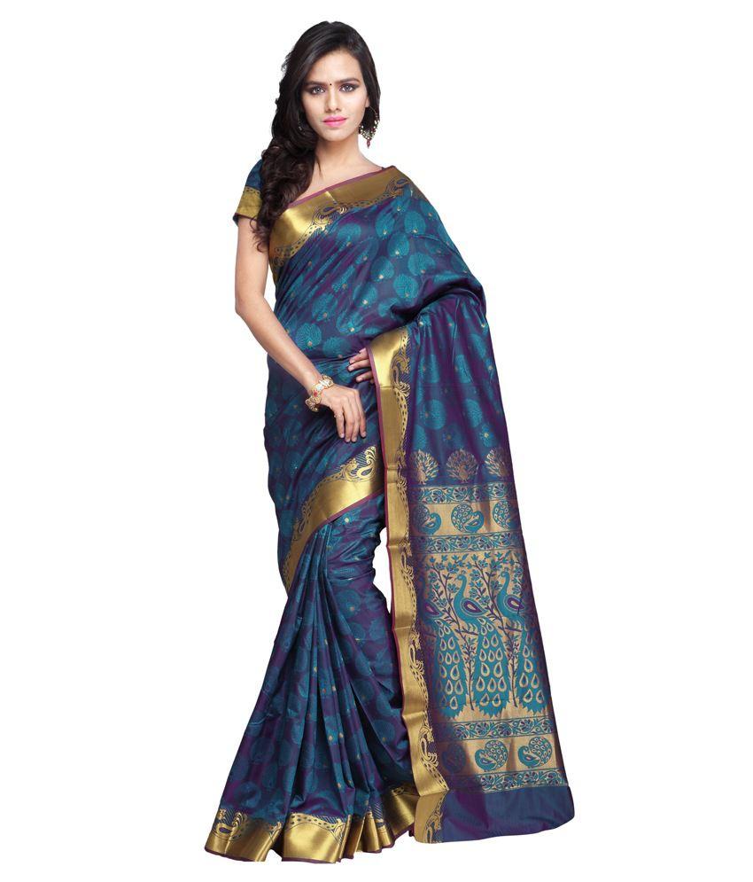 Varkala Silk Sarees Blue Art Silk Saree Buy Varkala Silk