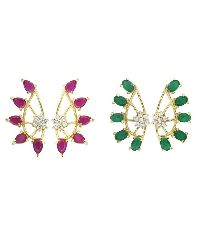Archi Collection Multicolour CZ Designer Ear Cuffs - Pack Of 2