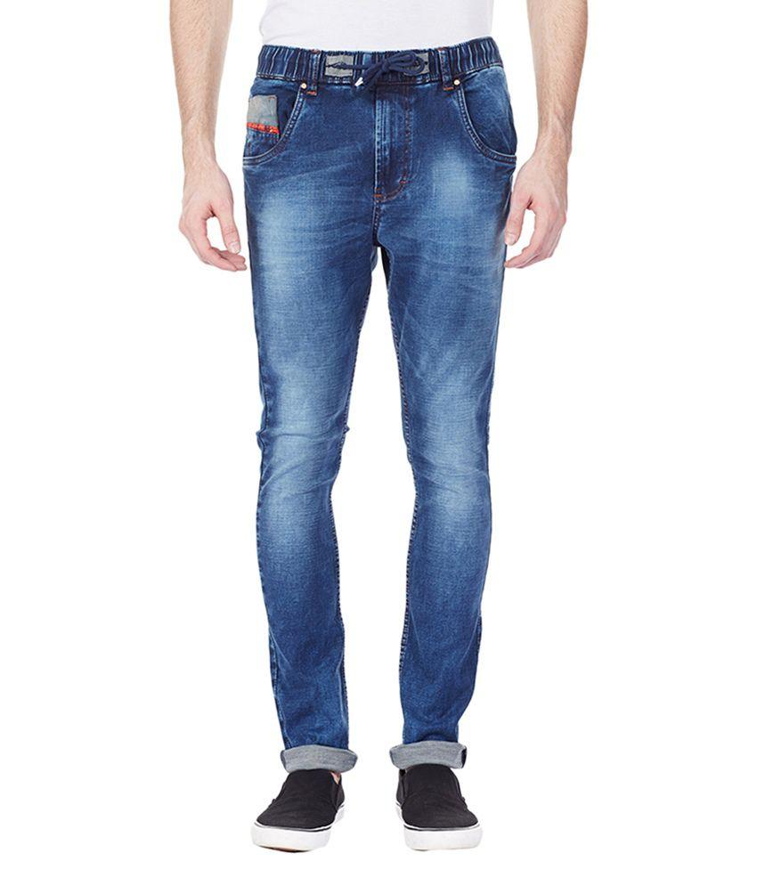 Bandit Mid Blue Cotton Men's Casual Slim Fit Jeans