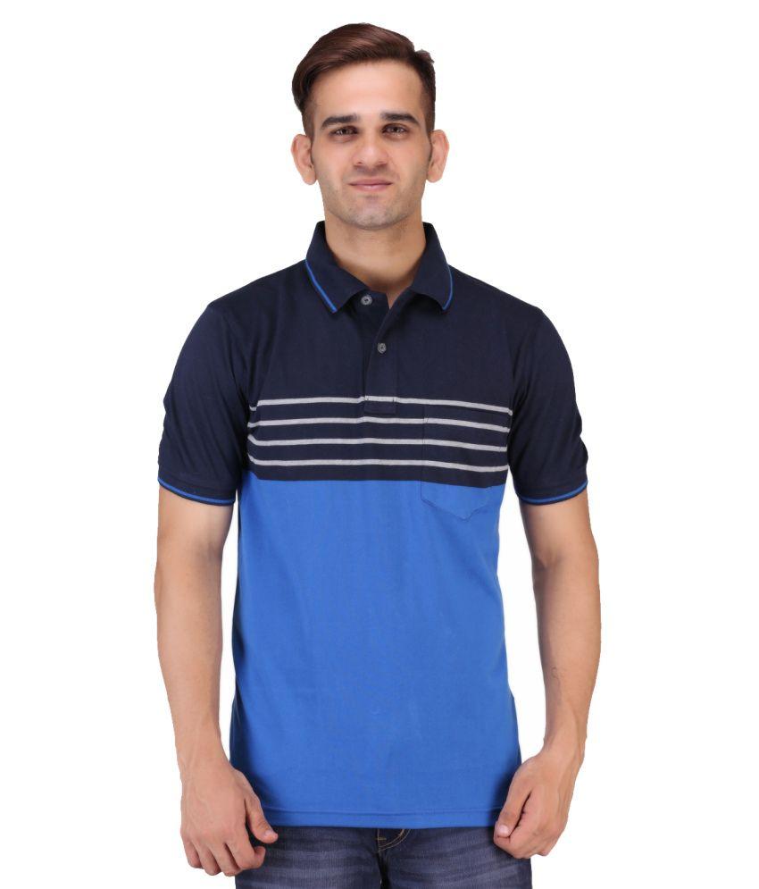 Keywest Blue Half Sleeves Stripe Polo T-shirt