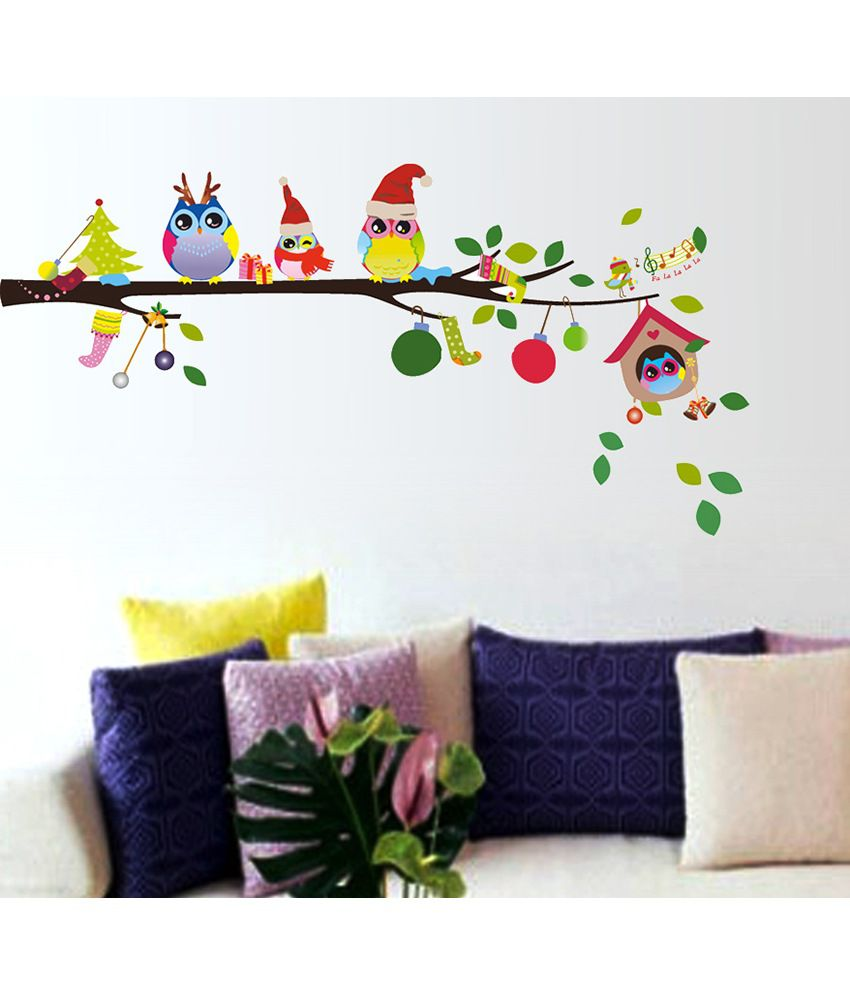 StickersKart Merry Christmas Winter Owls Decor Wall Decor - Multicolour (70x25 cms)