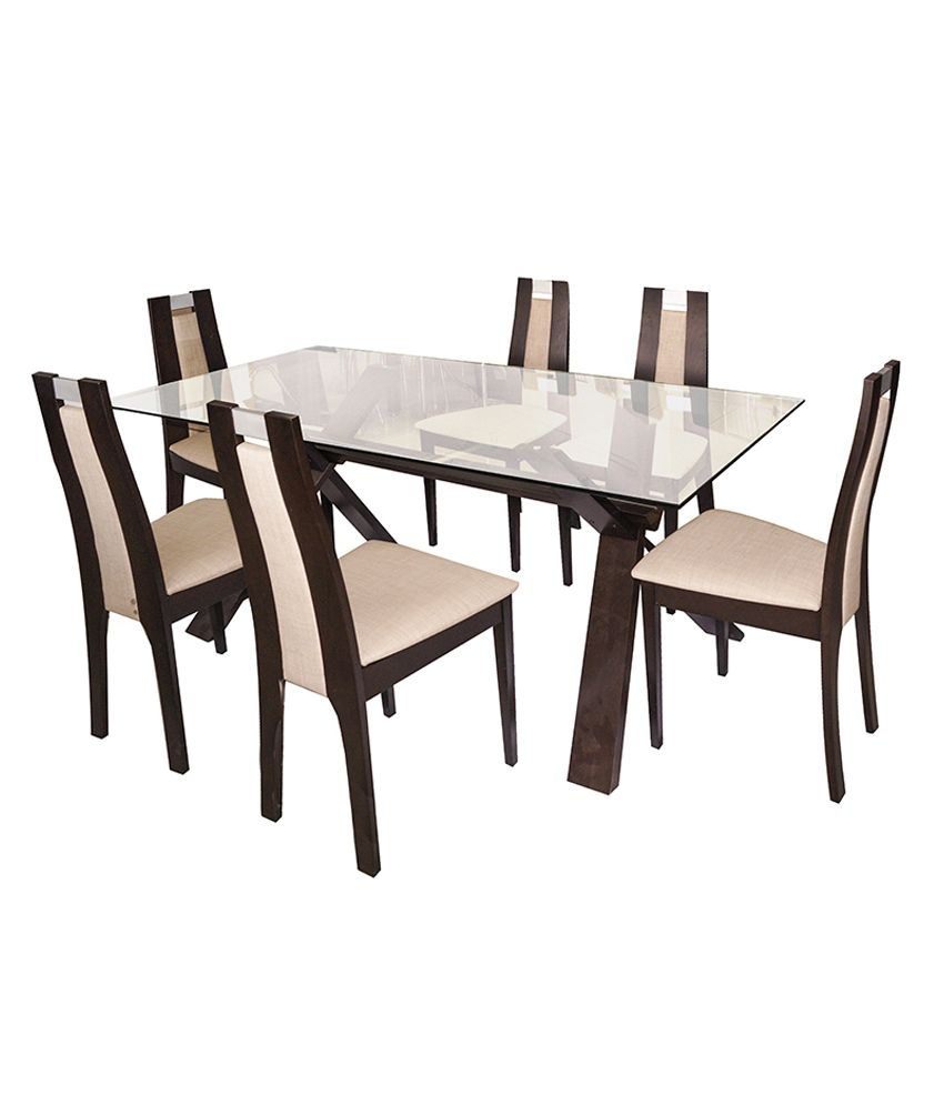 6 Seater Glass Dining Set In Melamine Finish Buy Online At Best Price In Ind