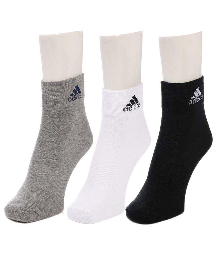 Adidas Multicolour Cotton Ankle Socks For Men - Pack Of 03