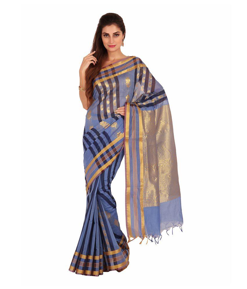 Platinum Blue Silk Saree