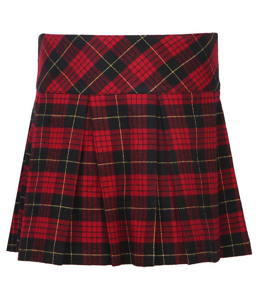 United Colors Of Benetton Red Checked Skirt