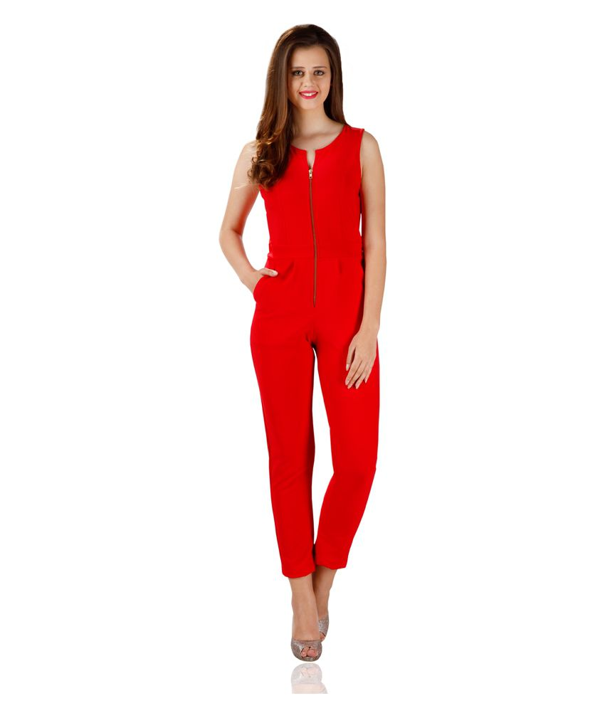 Miss Chase Red Long Tapered Jumpsuit For Women Sleeveless Round Neck Party Wear
