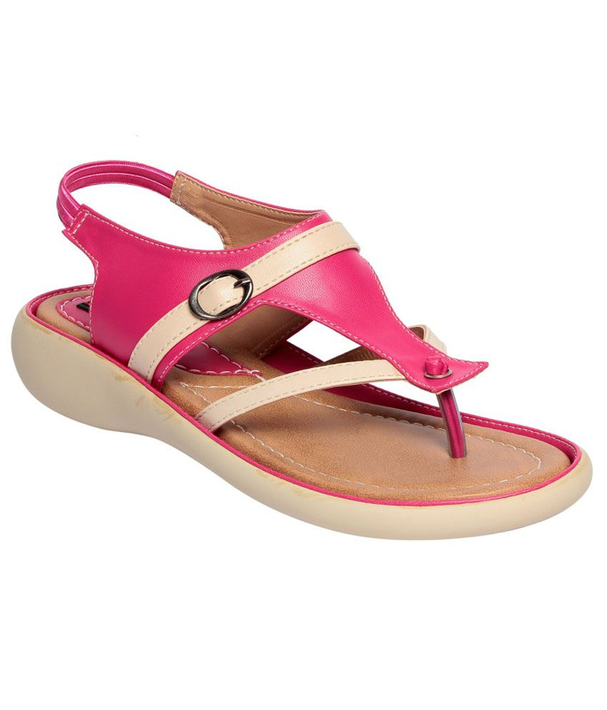 Sneha Unique Pink And White Wedges Sandal