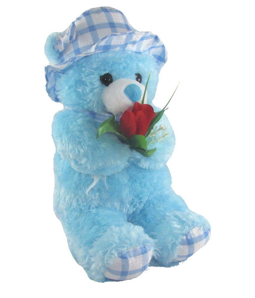 Tickles Blue Cap Teddy bear stuffed love soft toy for boyfriend, girlfriend with Rose