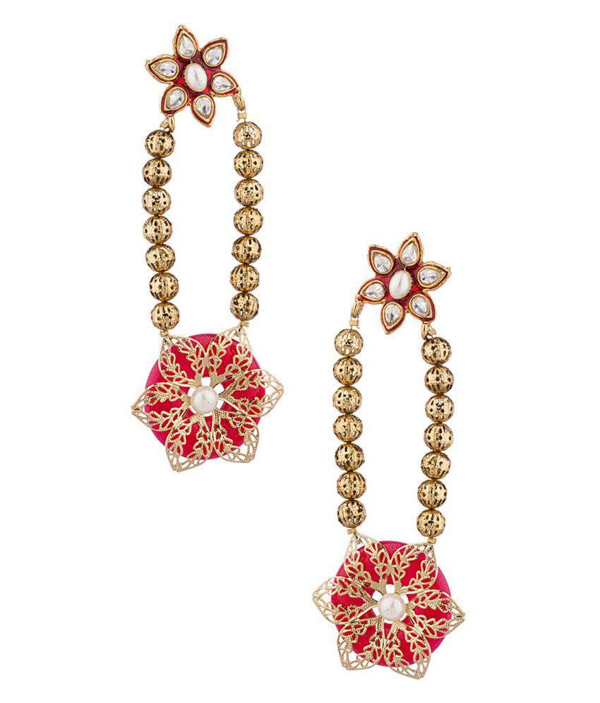 Voylla Floral Design Gold Toned Earrings Studded With Pearls