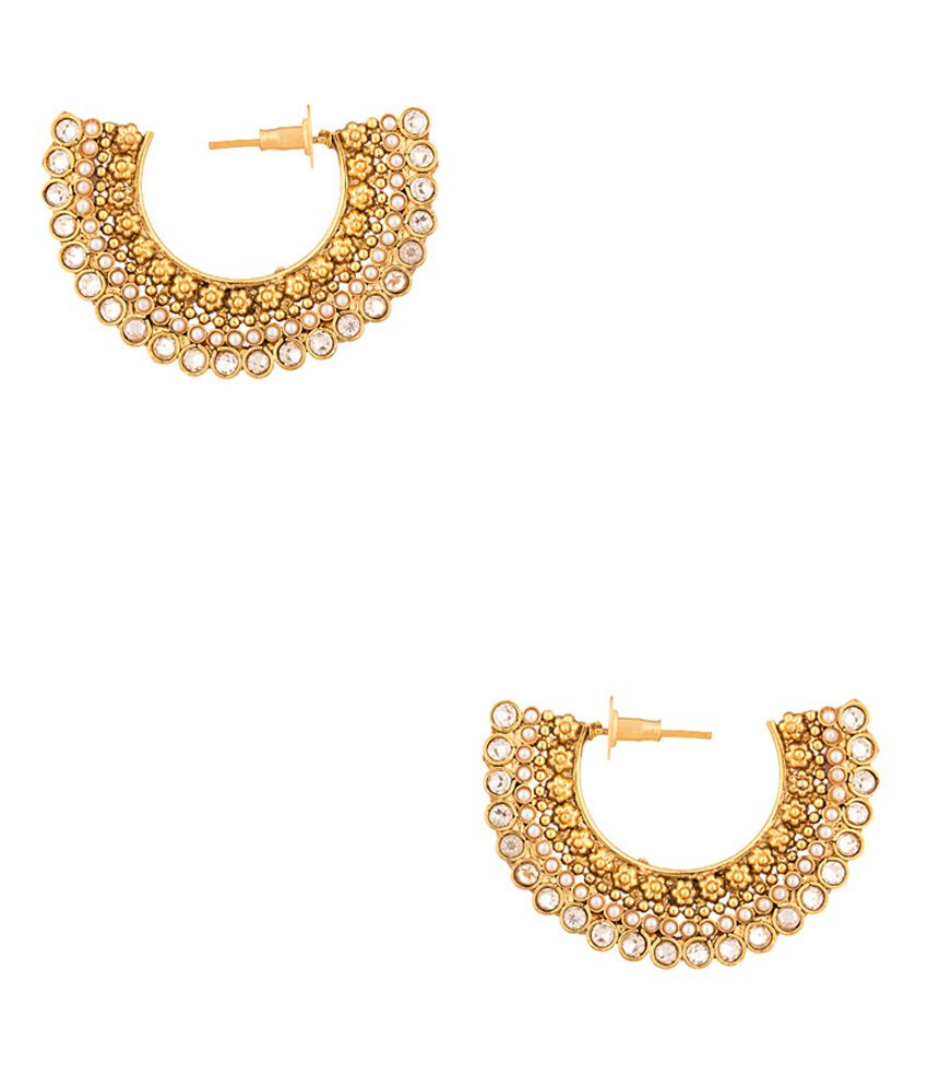 Voylla Pearl Beads Studded Gold Toned Earring Pair With CZ Embellishments