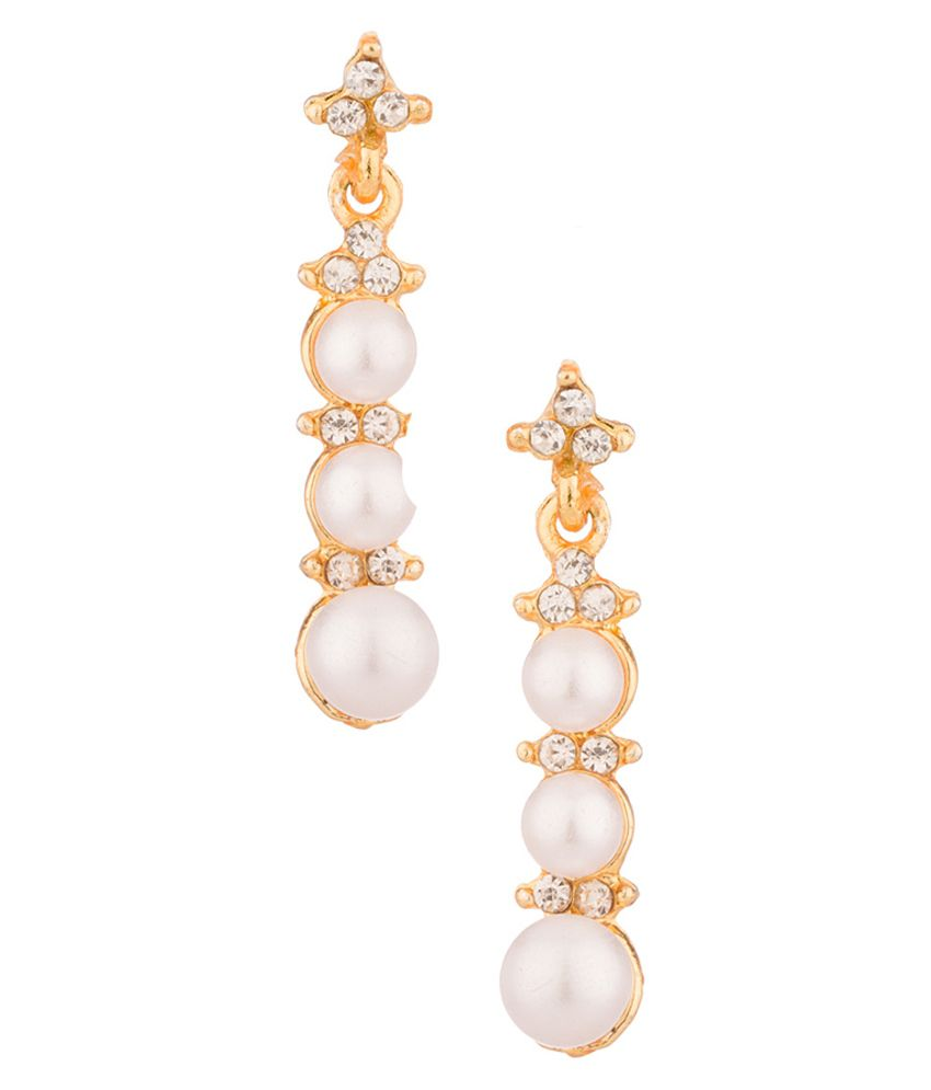 Voylla Pearl Studded Dangler Earrings