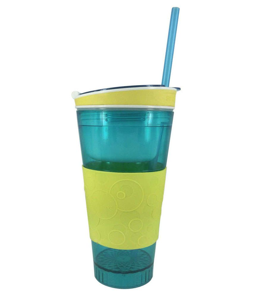 Dyna Snackeez Green And Yellow Two In One Snack And Drink Plastic Container