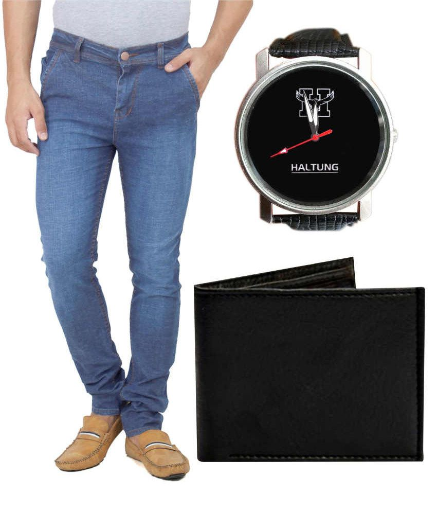 Haltung Ice Blue Faded Jeans with Free Watch & Purse