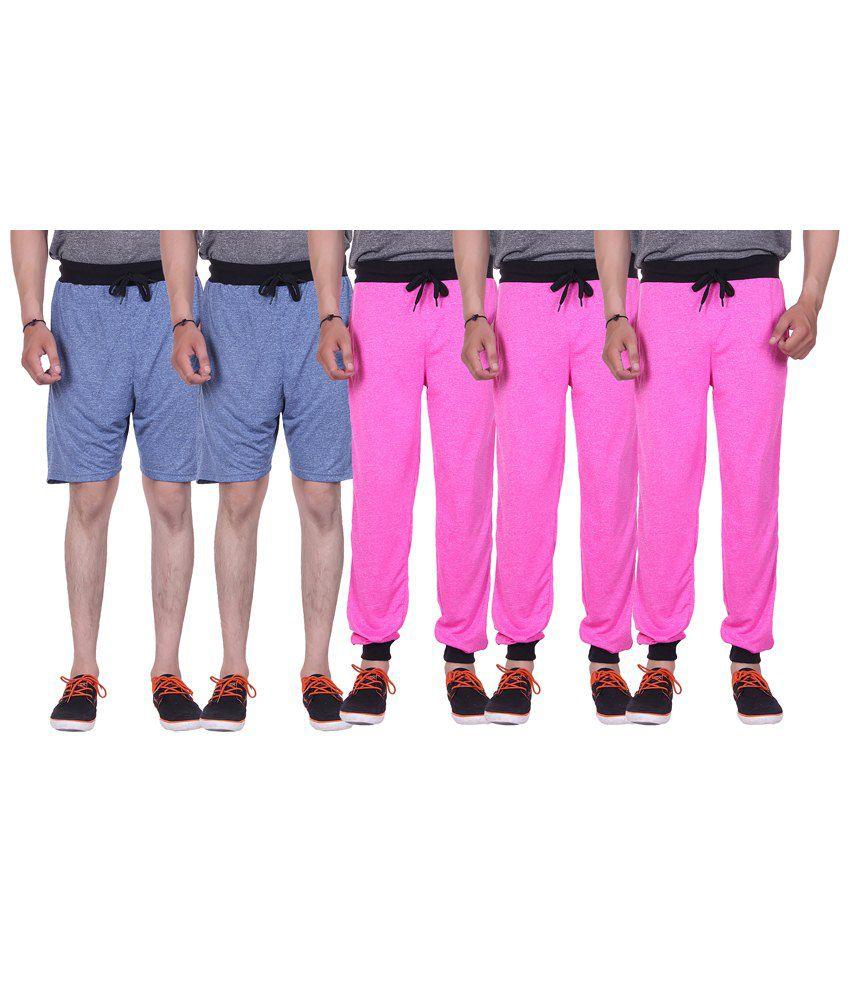 Gag Wear Multicolour Pack of 2 Melange Shorts & 3 Trackpants