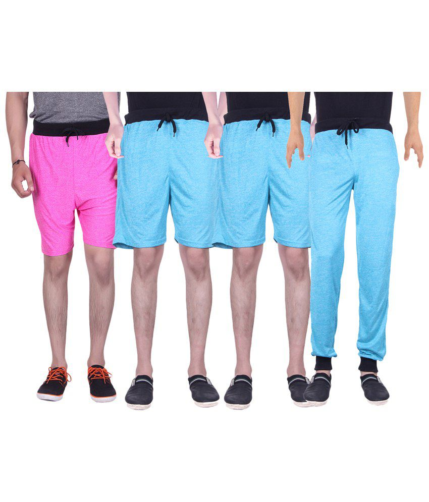 Gag Wear Multicolour Pack of Solid Trackpants & 3 Melange Shorts