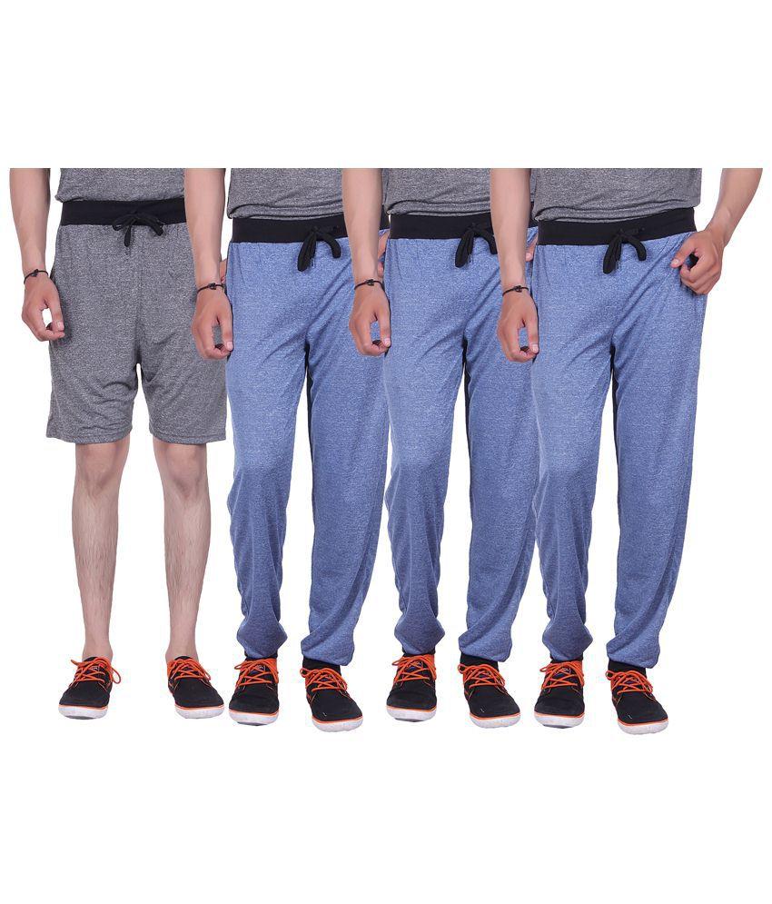 Gag Wear Multicolour Pack of Solid Melange Shorts & 3 Trackpants