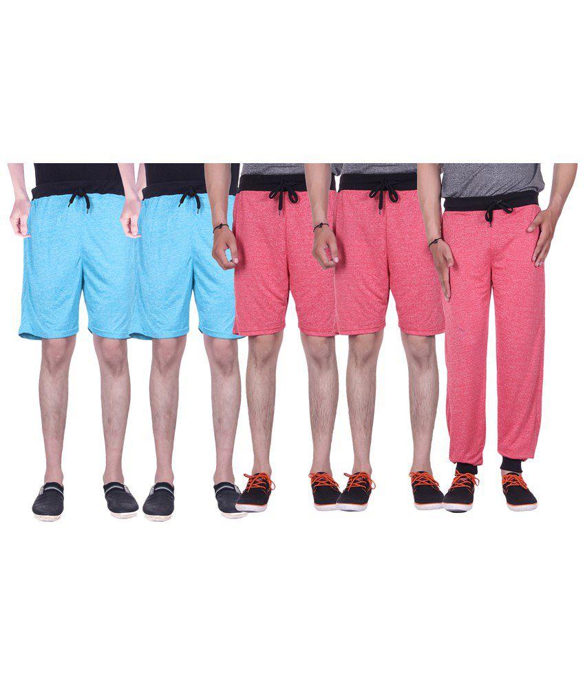 Gag Wear Multicolour Pack of Trackpants & 4 Melange Shorts