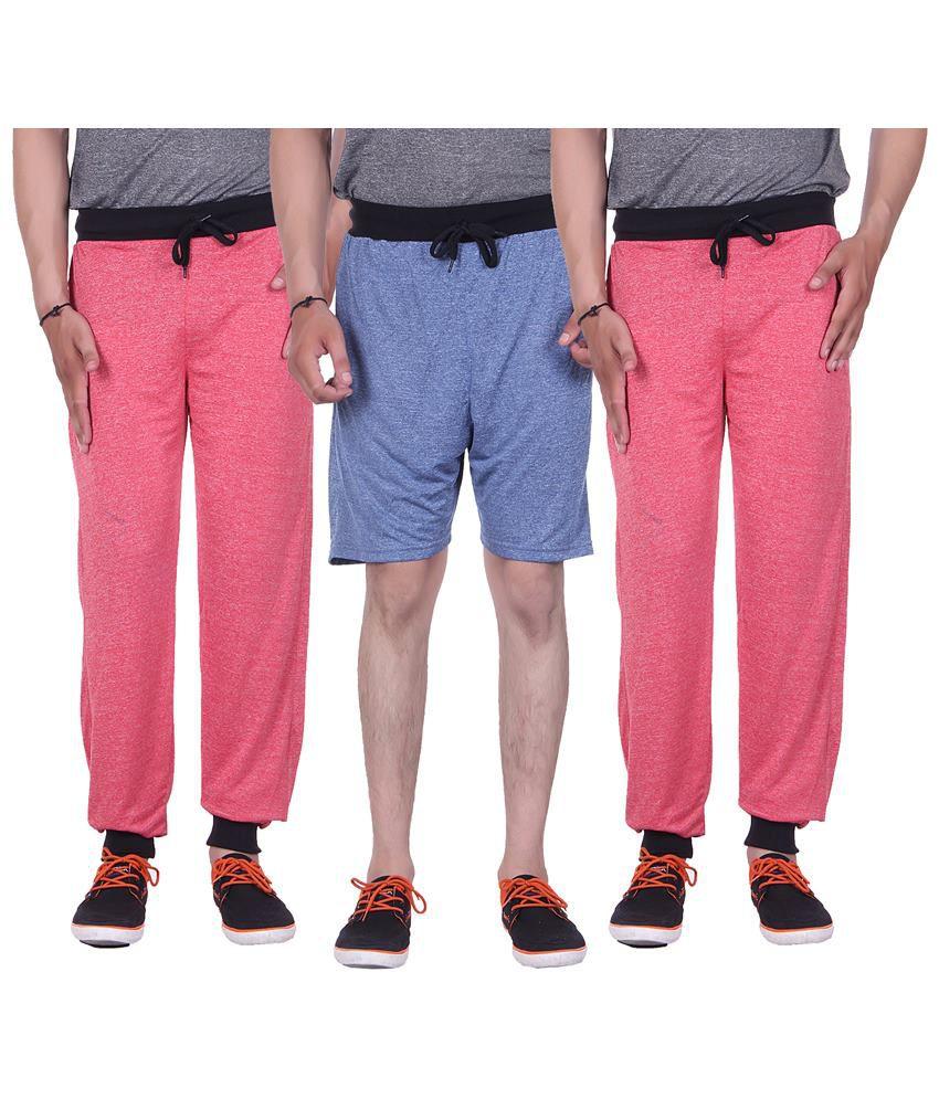 Gag Wear Multicolour Pack of Solid Melange Shorts & 2 Trackpants